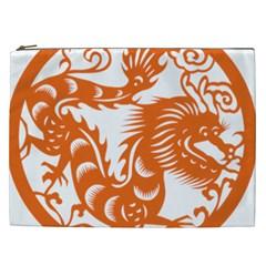 Chinese Zodiac Dragon Star Orange Cosmetic Bag (xxl)  by Mariart