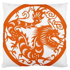 Chinese Zodiac Dragon Star Orange Large Flano Cushion Case (two Sides) by Mariart