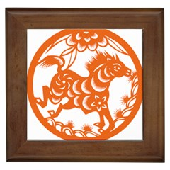 Chinese Zodiac Horoscope Horse Zhorse Star Orangeicon Framed Tiles by Mariart