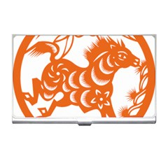 Chinese Zodiac Horoscope Horse Zhorse Star Orangeicon Business Card Holders by Mariart
