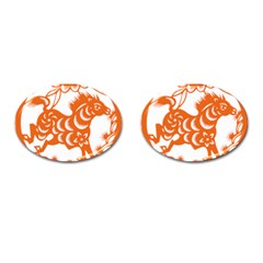 Chinese Zodiac Horoscope Horse Zhorse Star Orangeicon Cufflinks (oval) by Mariart