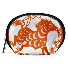 Chinese Zodiac Horoscope Horse Zhorse Star Orangeicon Accessory Pouches (medium)  by Mariart