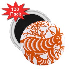 Chinese Zodiac Goat Star Orange 2 25  Magnets (100 Pack)  by Mariart
