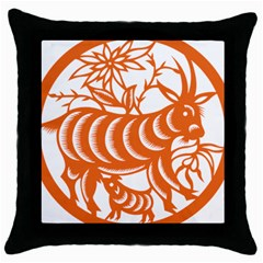 Chinese Zodiac Goat Star Orange Throw Pillow Case (black) by Mariart