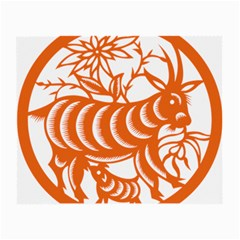 Chinese Zodiac Goat Star Orange Small Glasses Cloth (2 Side) by Mariart