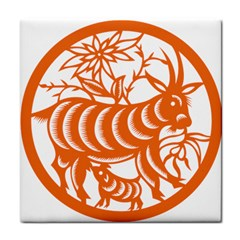 Chinese Zodiac Goat Star Orange Face Towel by Mariart