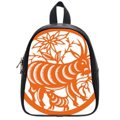 Chinese Zodiac Goat Star Orange School Bags (small)  by Mariart