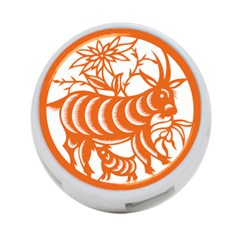 Chinese Zodiac Goat Star Orange 4 Port Usb Hub (two Sides)  by Mariart
