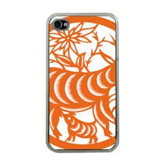 Chinese Zodiac Goat Star Orange Apple Iphone 4 Case (clear) by Mariart