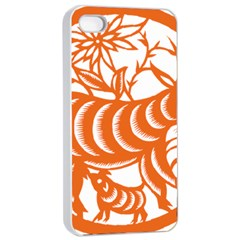 Chinese Zodiac Goat Star Orange Apple Iphone 4/4s Seamless Case (white) by Mariart