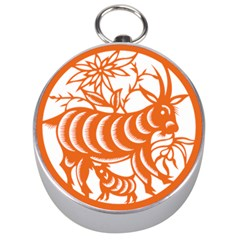 Chinese Zodiac Goat Star Orange Silver Compasses by Mariart