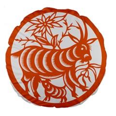 Chinese Zodiac Goat Star Orange Large 18  Premium Flano Round Cushions by Mariart