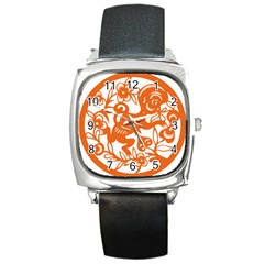 Chinese Zodiac Horoscope Monkey Star Orange Square Metal Watch by Mariart
