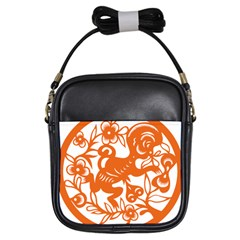 Chinese Zodiac Horoscope Monkey Star Orange Girls Sling Bags by Mariart