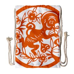 Chinese Zodiac Horoscope Monkey Star Orange Drawstring Bag (large) by Mariart