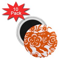 Chinese Zodiac Horoscope Pig Star Orange 1 75  Magnets (10 Pack)  by Mariart