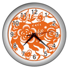 Chinese Zodiac Horoscope Pig Star Orange Wall Clocks (silver)  by Mariart