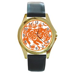 Chinese Zodiac Horoscope Pig Star Orange Round Gold Metal Watch by Mariart