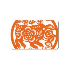 Chinese Zodiac Horoscope Pig Star Orange Magnet (name Card) by Mariart