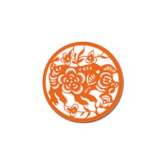 Chinese Zodiac Horoscope Pig Star Orange Golf Ball Marker (4 Pack) by Mariart