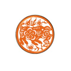 Chinese Zodiac Horoscope Pig Star Orange Hat Clip Ball Marker (4 Pack) by Mariart