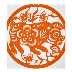 Chinese Zodiac Horoscope Pig Star Orange Shower Curtain 66  X 72  (large)  by Mariart