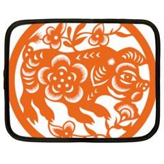 Chinese Zodiac Horoscope Pig Star Orange Netbook Case (xl)  by Mariart