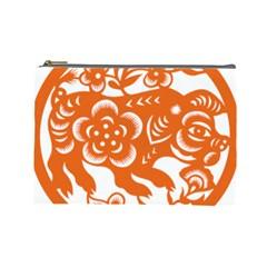 Chinese Zodiac Horoscope Pig Star Orange Cosmetic Bag (large)  by Mariart
