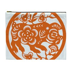 Chinese Zodiac Horoscope Pig Star Orange Cosmetic Bag (xl) by Mariart