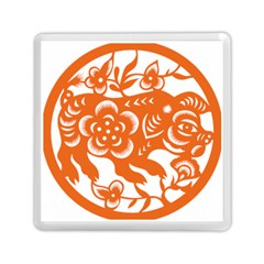 Chinese Zodiac Horoscope Pig Star Orange Memory Card Reader (square)  by Mariart