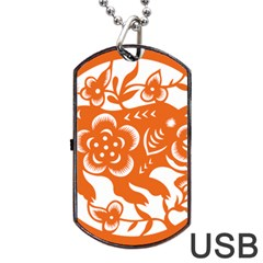 Chinese Zodiac Horoscope Pig Star Orange Dog Tag Usb Flash (two Sides) by Mariart