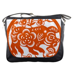 Chinese Zodiac Horoscope Pig Star Orange Messenger Bags by Mariart