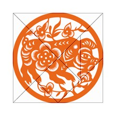 Chinese Zodiac Horoscope Pig Star Orange Acrylic Tangram Puzzle (6  X 6 ) by Mariart