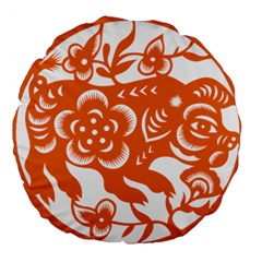 Chinese Zodiac Horoscope Pig Star Orange Large 18  Premium Round Cushions by Mariart