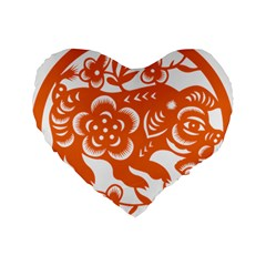 Chinese Zodiac Horoscope Pig Star Orange Standard 16  Premium Flano Heart Shape Cushions by Mariart