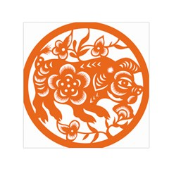 Chinese Zodiac Horoscope Pig Star Orange Small Satin Scarf (square) by Mariart