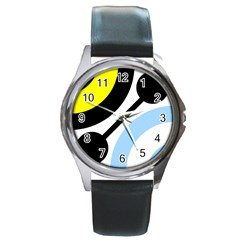 Circle Line Chevron Wave Black Blue Yellow Gray White Round Metal Watch by Mariart