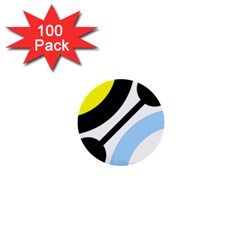 Circle Line Chevron Wave Black Blue Yellow Gray White 1  Mini Buttons (100 Pack)  by Mariart