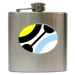 Circle Line Chevron Wave Black Blue Yellow Gray White Hip Flask (6 Oz) by Mariart
