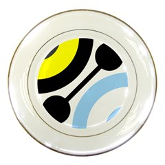 Circle Line Chevron Wave Black Blue Yellow Gray White Porcelain Plates by Mariart