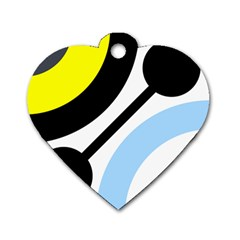 Circle Line Chevron Wave Black Blue Yellow Gray White Dog Tag Heart (one Side) by Mariart