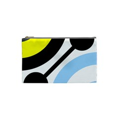 Circle Line Chevron Wave Black Blue Yellow Gray White Cosmetic Bag (small)  by Mariart