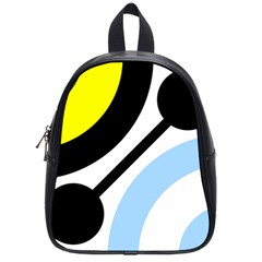 Circle Line Chevron Wave Black Blue Yellow Gray White School Bags (small)  by Mariart