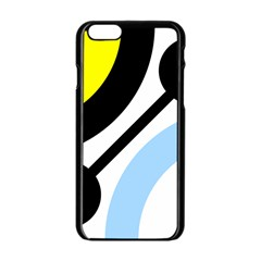 Circle Line Chevron Wave Black Blue Yellow Gray White Apple Iphone 6/6s Black Enamel Case by Mariart