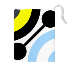 Circle Line Chevron Wave Black Blue Yellow Gray White Drawstring Pouches (extra Large) by Mariart