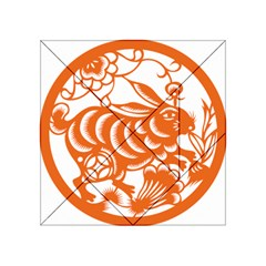 Chinese Zodiac Horoscope Rabbit Star Orange Acrylic Tangram Puzzle (4  X 4 ) by Mariart