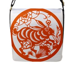 Chinese Zodiac Horoscope Rabbit Star Orange Flap Messenger Bag (L)