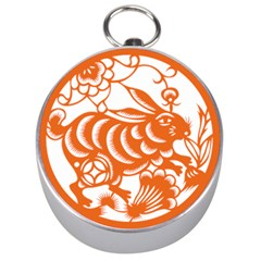 Chinese Zodiac Horoscope Rabbit Star Orange Silver Compasses by Mariart
