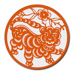 Chinese Zodiac Signs Tiger Star Orangehoroscope Round Mousepads by Mariart
