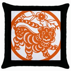Chinese Zodiac Signs Tiger Star Orangehoroscope Throw Pillow Case (black) by Mariart